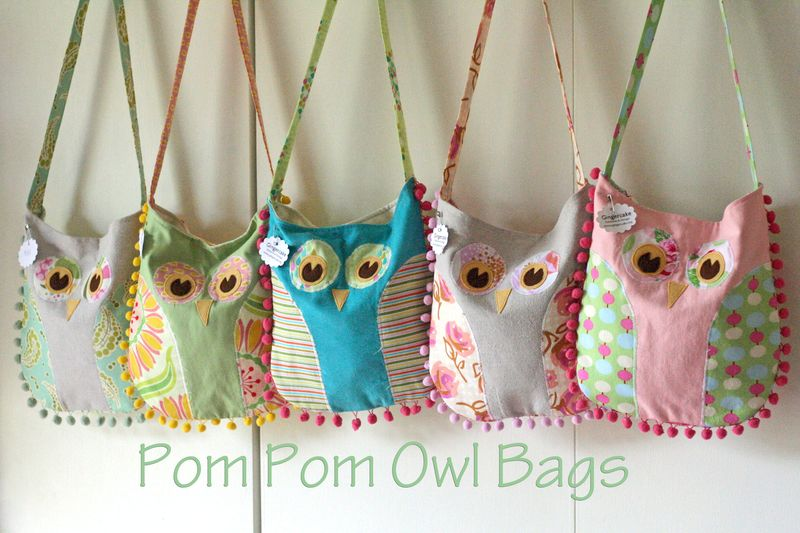 Gingercake pompom Owl Bags