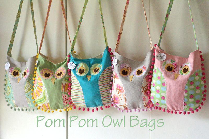 Gingercake pompom Owl Bags