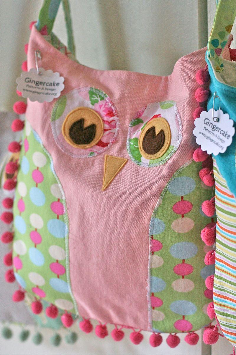 Gingercake Pink Pom Pom Owl Bag