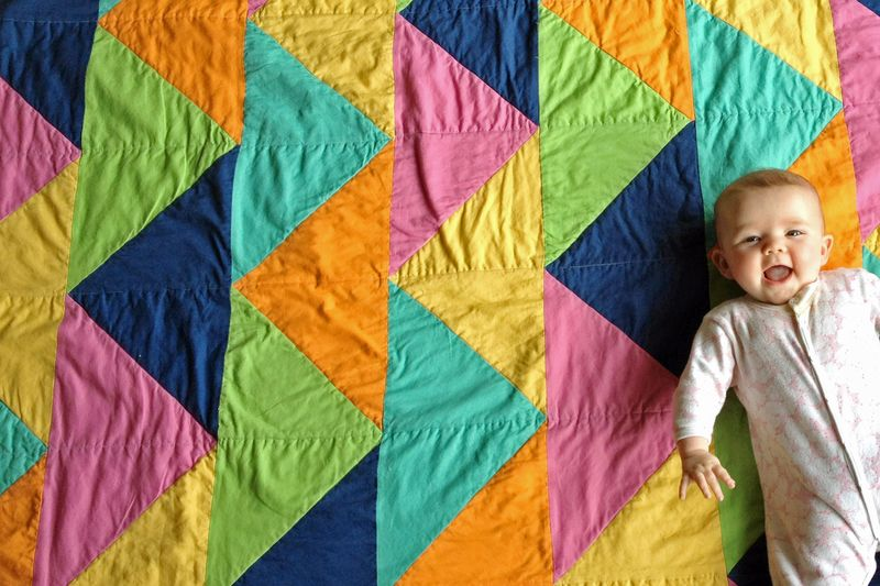 Baby on Gingercake Triangle Quilt
